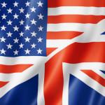 USA and UK flag, three dimensional render, satin texture. speaking english symbol